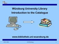 Würzburg University Library Introduction to the Catalogue