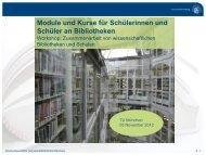 Module und Kurse für Schülerinnen und Schüler an Bibliotheken