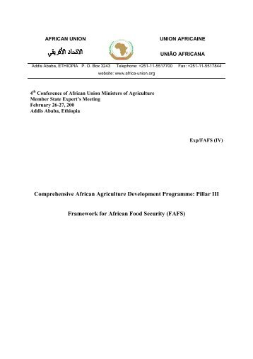 Comprehensive African Agriculture Development ... - Union africaine