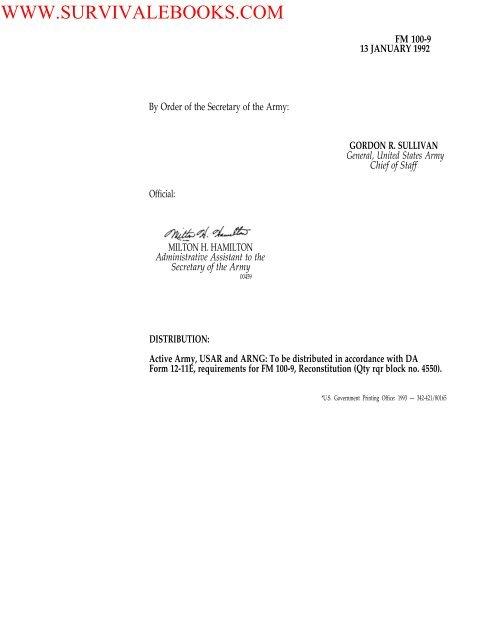 1992 US Army Reconstitution 63p pdf - Survival Books