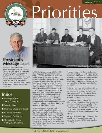 Winter 2010 Newsletter - Peninsula Credit Union