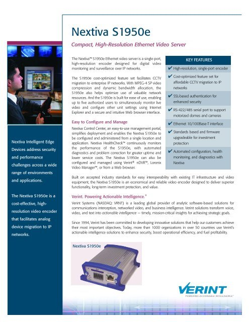 Verint S1950e Video servers (IP transmission) product datasheet