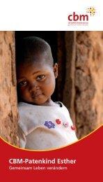 Das ist Esther, unser Cbm-Patenkind - Christoffel-Blindenmission