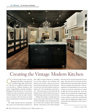 Creating the Vintage Modern Kitchen - Quintessential Barrington ...