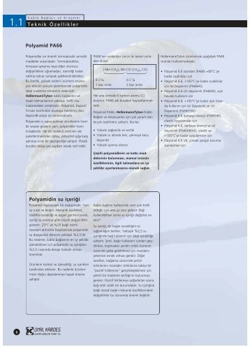 Teknik Özellikler Polyamid PA66 Polyamidin su içeri¤i