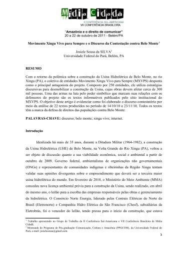 Movimento Xingu Vivo para Sempre e o Discurso da Contestação ...