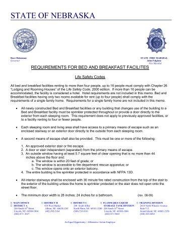 STATE OF NEBRASKA - Nebraska State Fire Marshal
