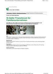 St.Galler Finanzforum für Familienunternehmen - Biesalski & Company