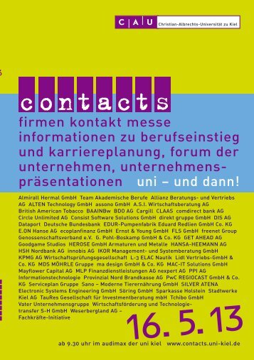 Katalog contacts 2013 - Christian-Albrechts-Universität zu Kiel