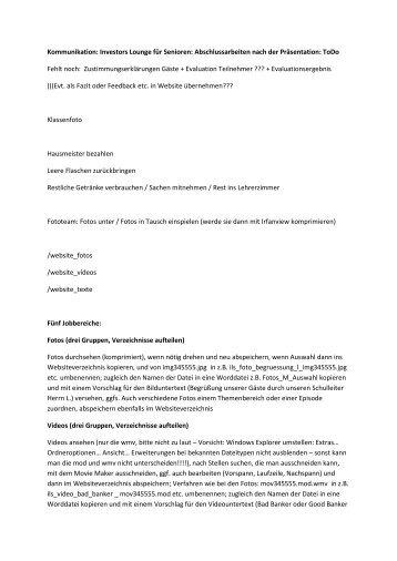 Beispiel einer solchen ToDo-Liste: Abschlussarbeiten - Kubiss.de