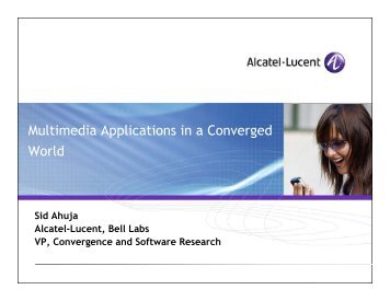 Multimedia Applications in a Converged World - WOCC