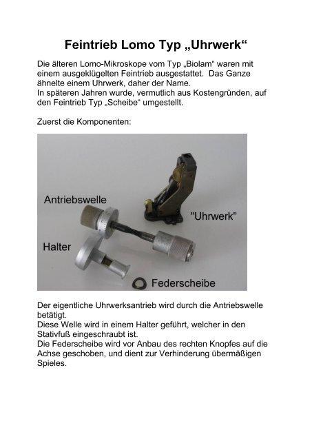 """Feintrieb Lomo Typ """"Uhrwerk"""" - Mikroskopfreunde-Nordhessen"""