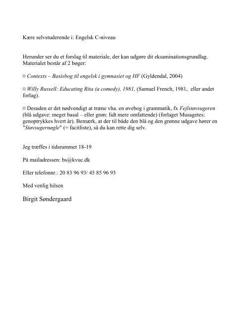 Kære selvstuderende i: Engelsk C-niveau - KVUC