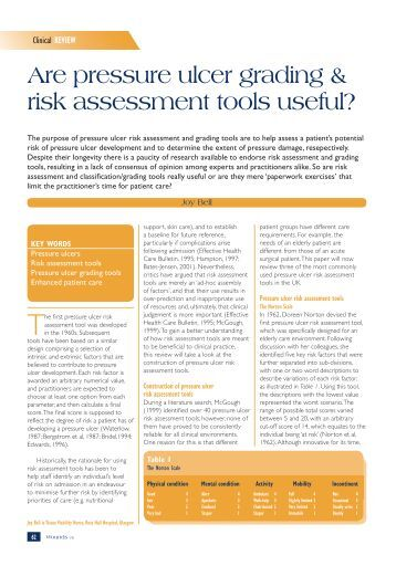 pressure ulcers reliability of risk assessment tools Pressure-ulcer risk-assessment tools, which use arbitrary cut-off scores, should be replaced by careful, daily skin assessment and specific interventions tailored to individual risk factors references.