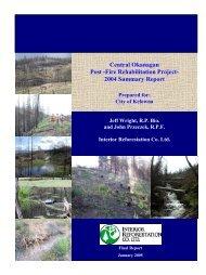 Central Okanagan Post -Fire Rehabilitation Project ... - City of Kelowna