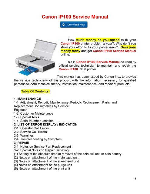 Canon Ip100 Service Manual