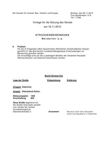 1 mitteilung des senats an die stadtb rgerschaft vom 24 - Vorlage fa r hirsch ...