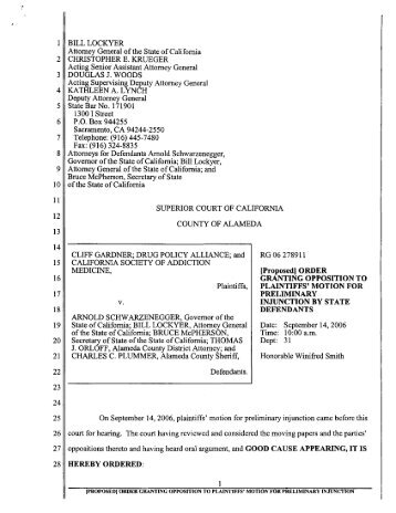 [Proposed] Order Granting Opposition to Plaintiffs - Drug Policy ...