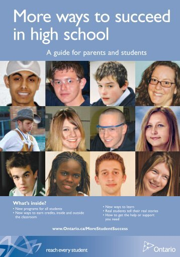 More Ways to Succeed in High School - a guide for ... - Ontario.ca