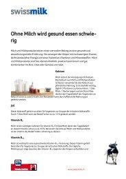 Ohne Milch wird gesund essen schwie- rig - Swissmilk