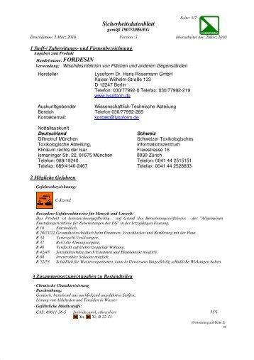 Sicherheitsdatenblatt - LYSOFORM Dr. Hans Rosemann GmbH