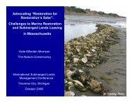'Restoration for Restoration's Sake' - Marine Conservation Agreements
