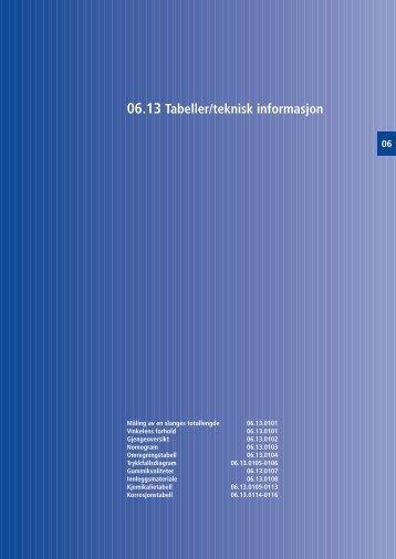 06.13 Tabeller/teknisk informasjon