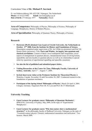 Curriculum Vitae Dr Michael P Seevinck Research University