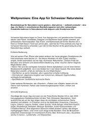 Weltpremiere: Eine App für Schweizer Natursteine - Emilio Stecher AG