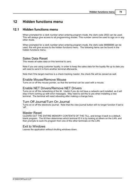 Hidden functions menu Par