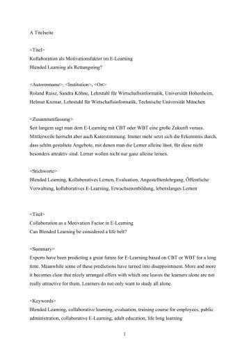 Kollaboration als Motivationsfaktor im E-Learning Blended Learning ...