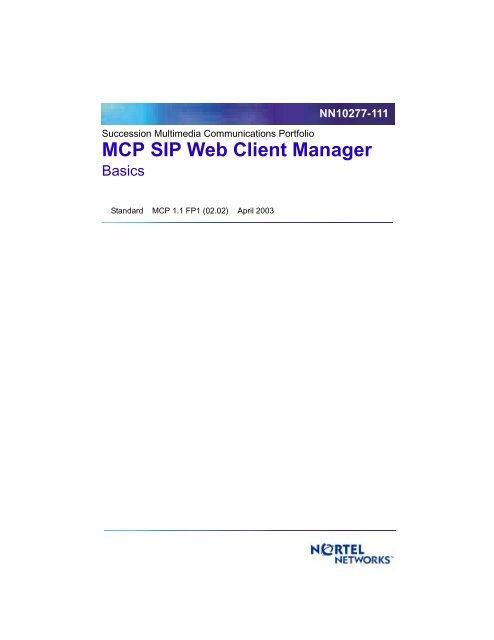 MCP SIP Web Client Manager Basics pdf - Tandem Data