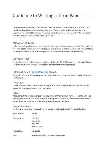 Help writing a term paper guidelines
