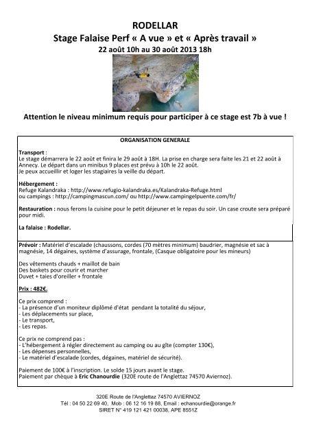 RODELLAR Stage Falaise Perf « A vue » et « Après ... - Petit Fichier