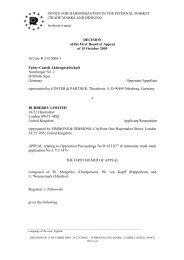 (TRADE MARKS AND DESIGNS) DECISION of the First ... - OHIM