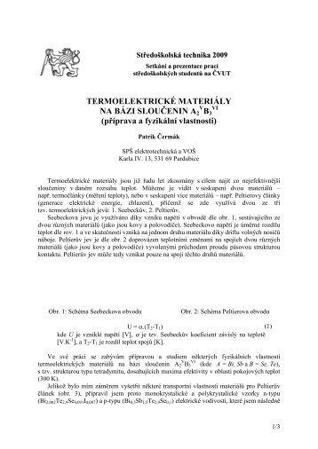 TERMOELEKTRICKÉ MATERIÁLY NA BÁZI SLOUČENIN A2 B3 ...