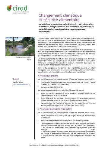 Changement climatique et sécurité alimentaire - Cirad