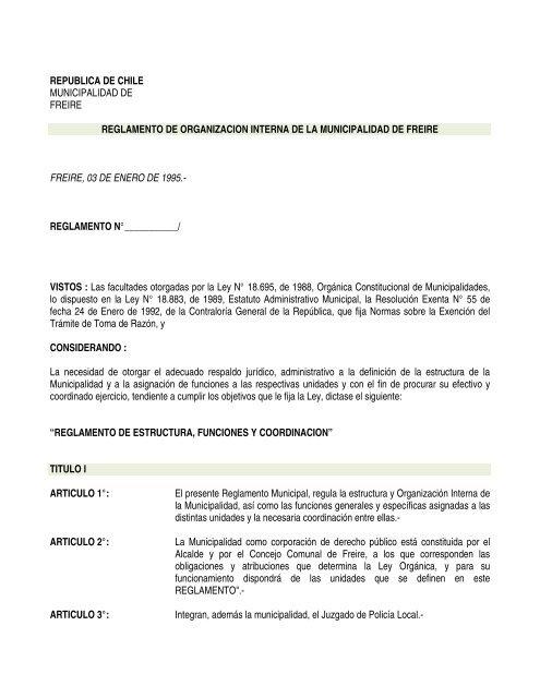 Reglamento De Organizacion Interna Pdf Municipalidad