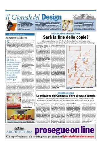 Il Giornale del Design, novembre 2010 Sarà la fine delle copie?