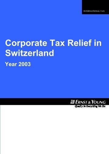 Corporate Tax Relief In Switzerland