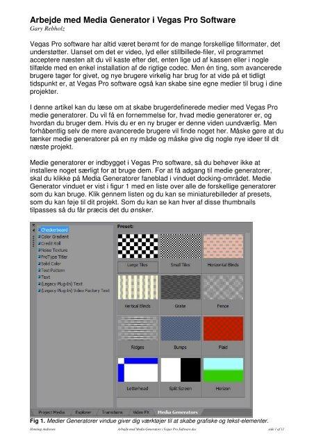 Anvendelse af Mediegenerator.pdf - Hennings sider om ...
