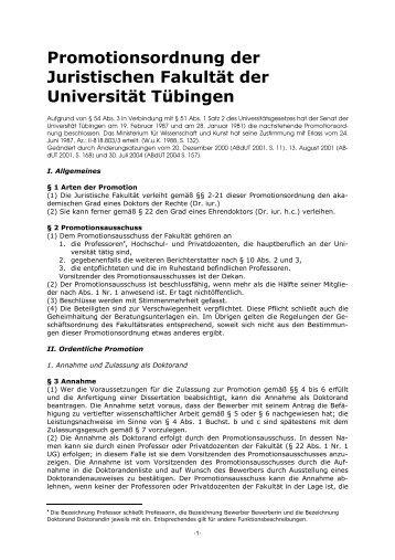 Promotionsordnung - Juristische Fakultät der Eberhard-Karls ...
