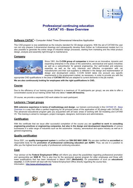 CATIA V5 – Base Overview - C-Con GmbH