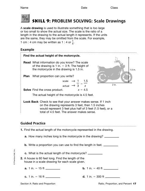 Skill 9 Problem Solving Scale Drawings