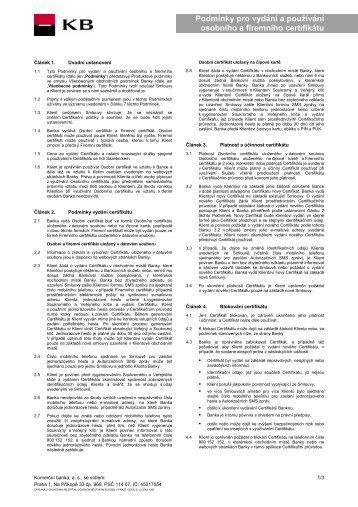 Podmínky pro vydání a používání osobního a ... - Komerční banka