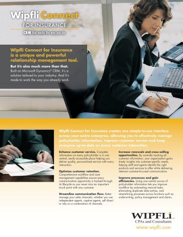 Download a PDF of our Wipfli Connect for Insurance brochure.