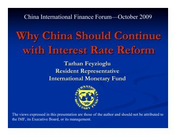 Why China Should Continue with Interest Rate Reform; China ... - IMF
