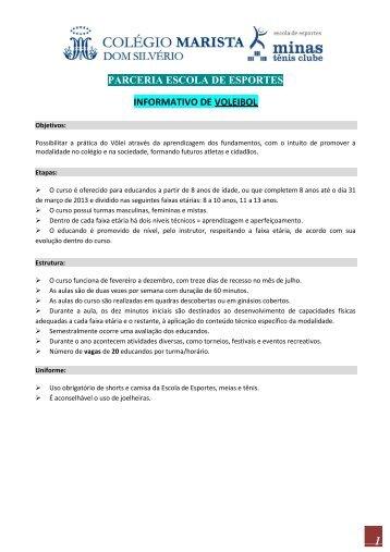 Cursos Parceria Escola de Esportes Marista & MINAS T.C 2013
