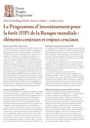 Le Programme d'investissement pour la forêt (FIP) - Forest Peoples ...