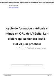 cycle de formation médicale continue en ORL de L'hôpital ... - SNORL